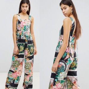 ASOS Square Neck Jumpsuit in Postcard Print